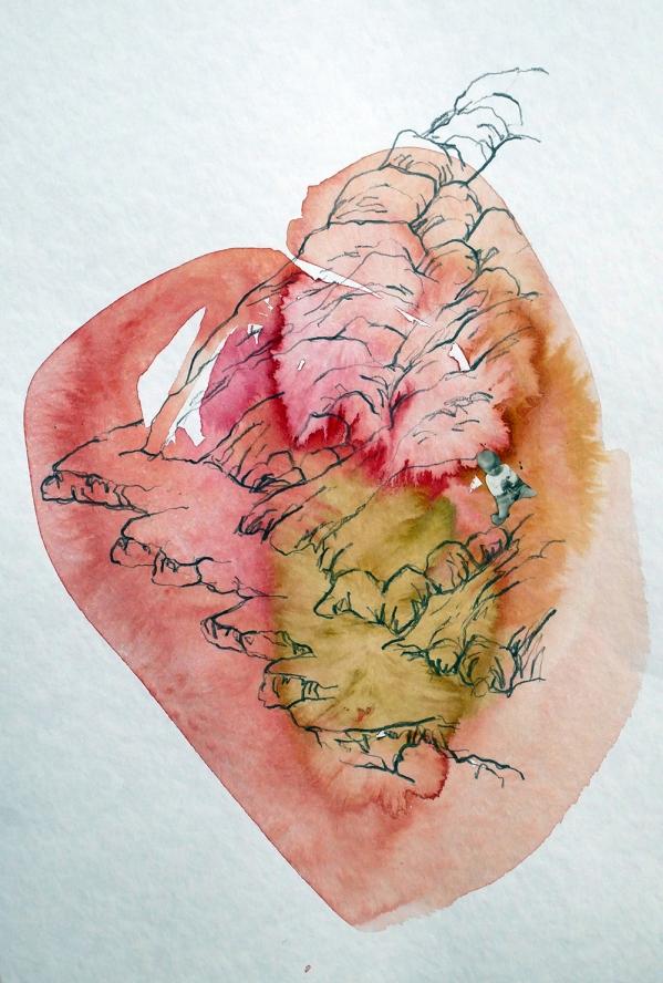 Herzenskammer 5, Tusche, Bleistift auf Papier 30x40