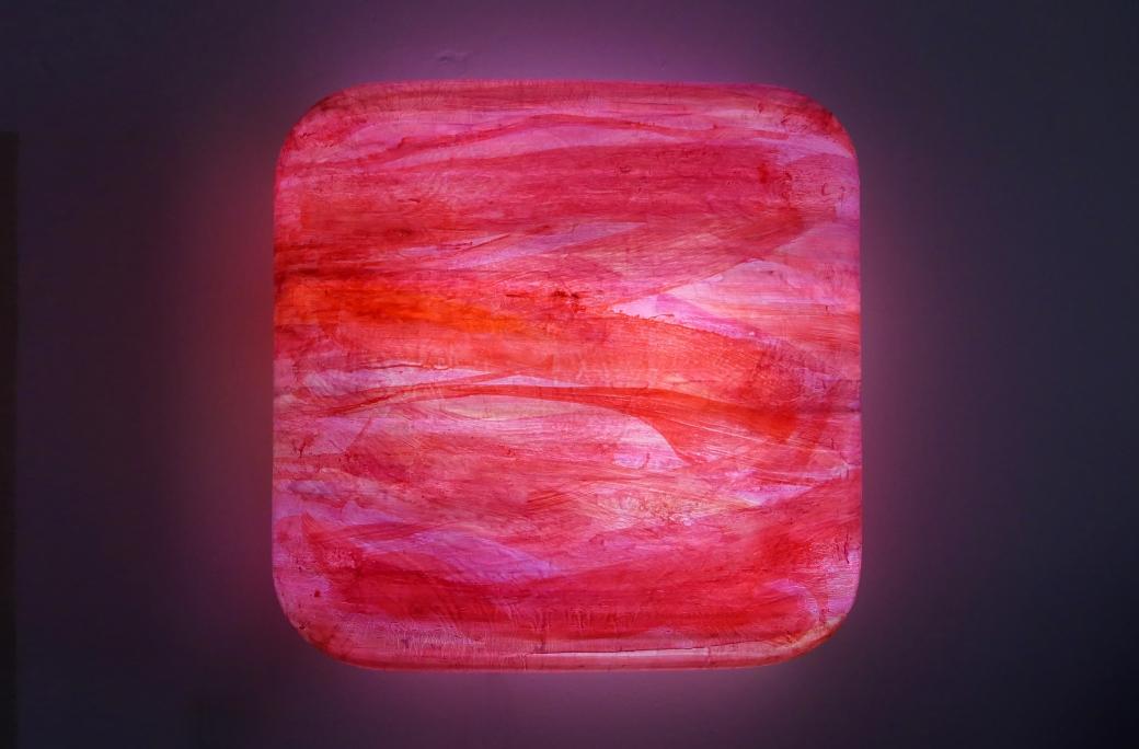 Frank Oehlmann -Leuchtobjekt Kissen Magenta Rot 90x90